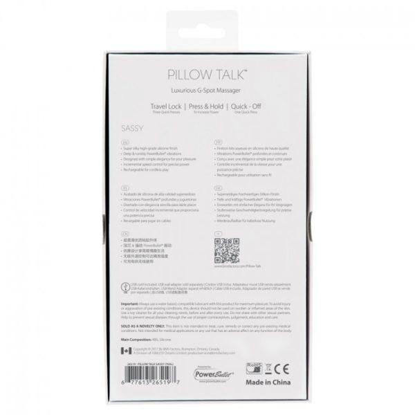 Pillow Talk Sassy G Spot Vibrator Pastel Pink Packaging Back