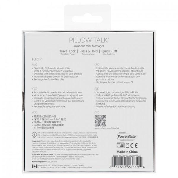 Pillow Talk Flirty Rechargeable Bullet Teal Packaging Back