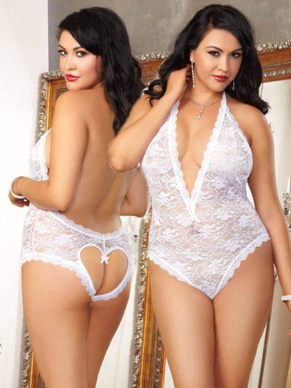 Dreamgirl Naughty Vows Teddy Plus Size White