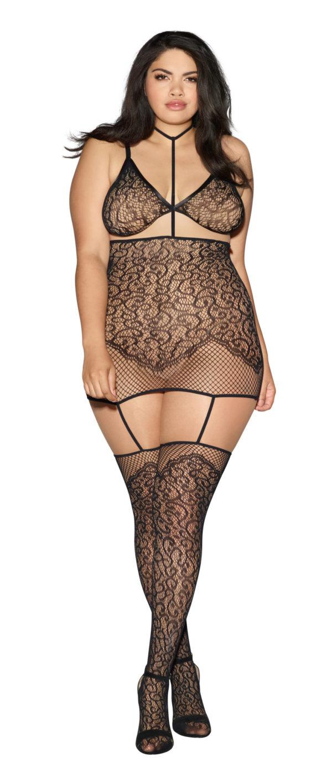 Dreamgirl Black Collar Lace Garter Dress Plus Size 0290X