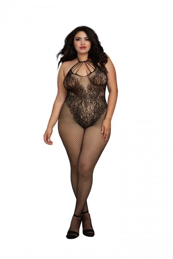 Dreamgirl Black Fishnet Bodystocking Plus Size - 0326X