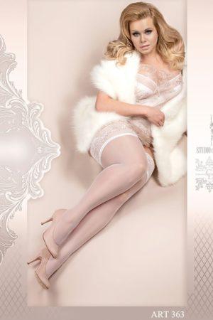Ballerina Plus Size White Hold Up Stockings - 363