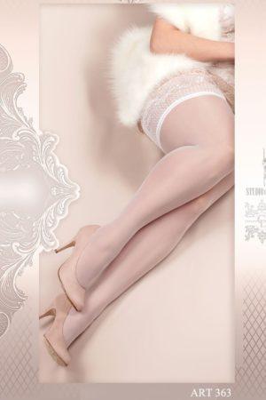 Ballerina Plus Size White Hold Up Stockings Close-Up- 363