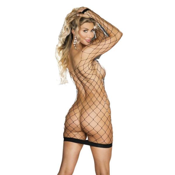 Shirley of Hollywood Sparkly Fishnet Long Sleeve Chemise 90429 Black Back