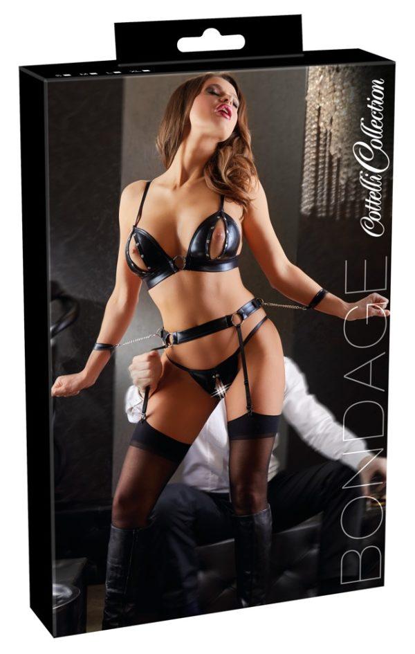 Cottelli Bondage Open Bust & Crotch Suspender Set Packaging
