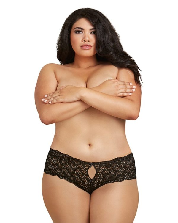 Dreamgirl Black Lace Panty with Heart Cutout Back Plus Size 1442X
