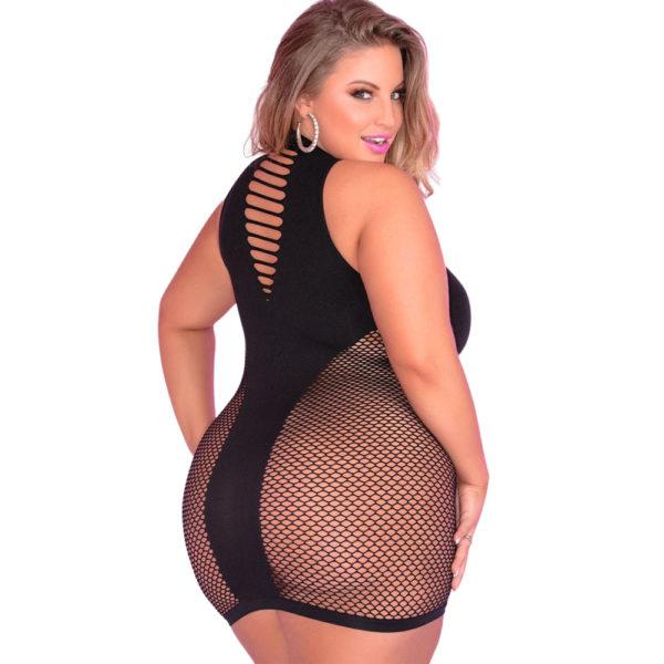 Pink Lipstick Inter-Net Hi Neck Dress Black Plus Size 25085X Back