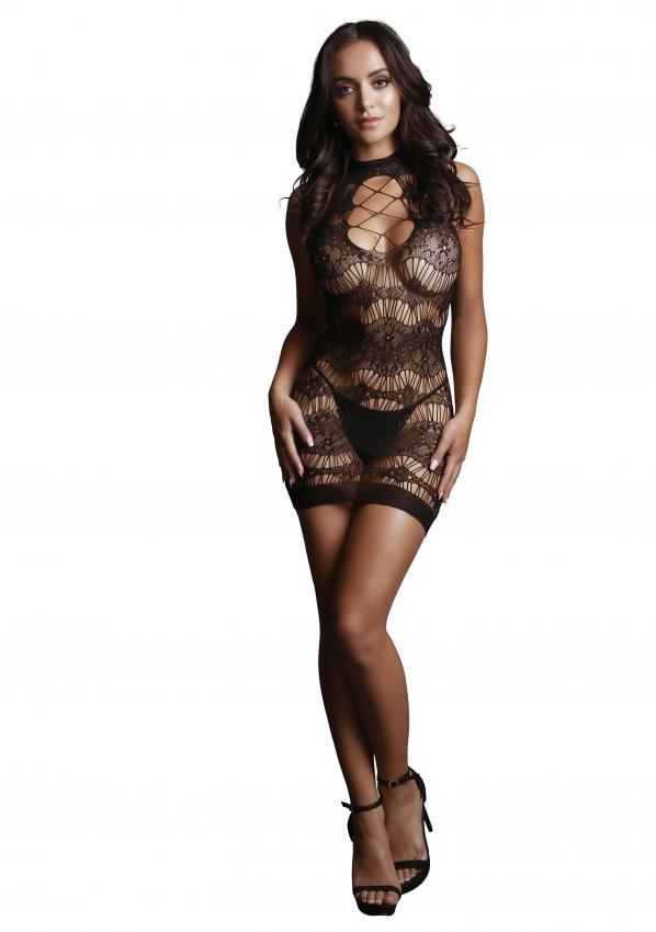 Le Desir Criss-Cross Neck Mini Dress