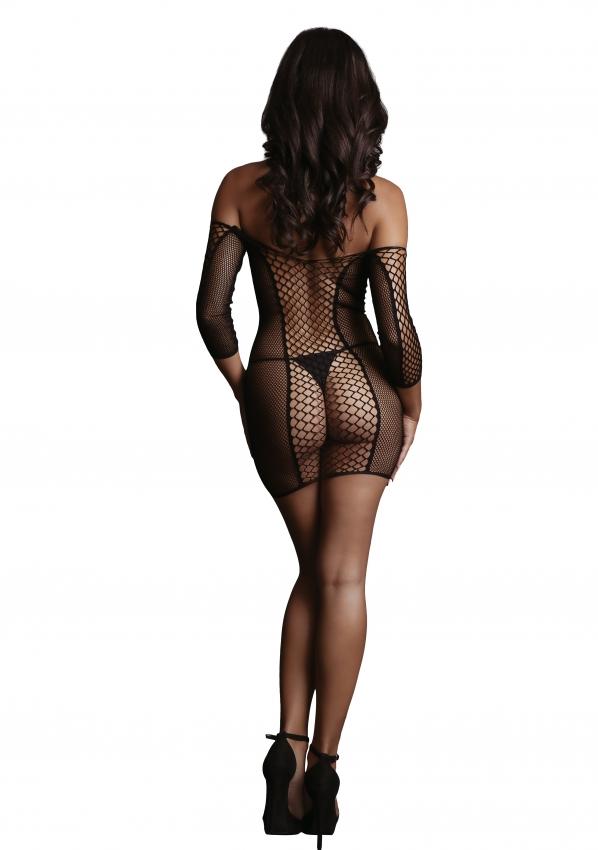Le Desir Duo Net Sleeved Mini Dress Full Back