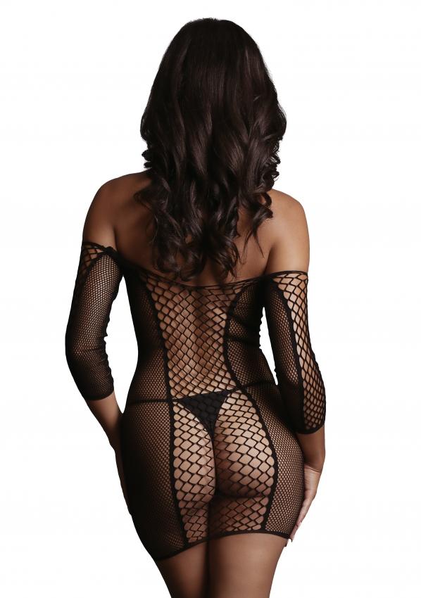 Le Desir Duo Net Sleeved Mini Dress Back Close-up