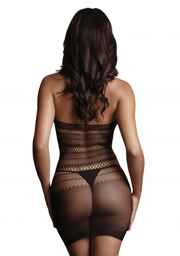 Le Desir High Lace Neck Net Mini Dress Back Close-up
