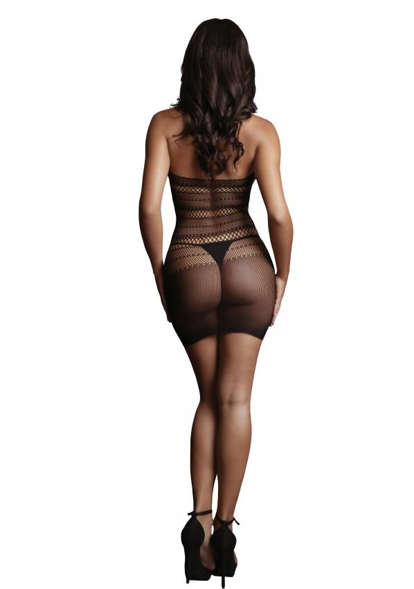 Le Desir High Lace Neck Net Mini Dress Back Full