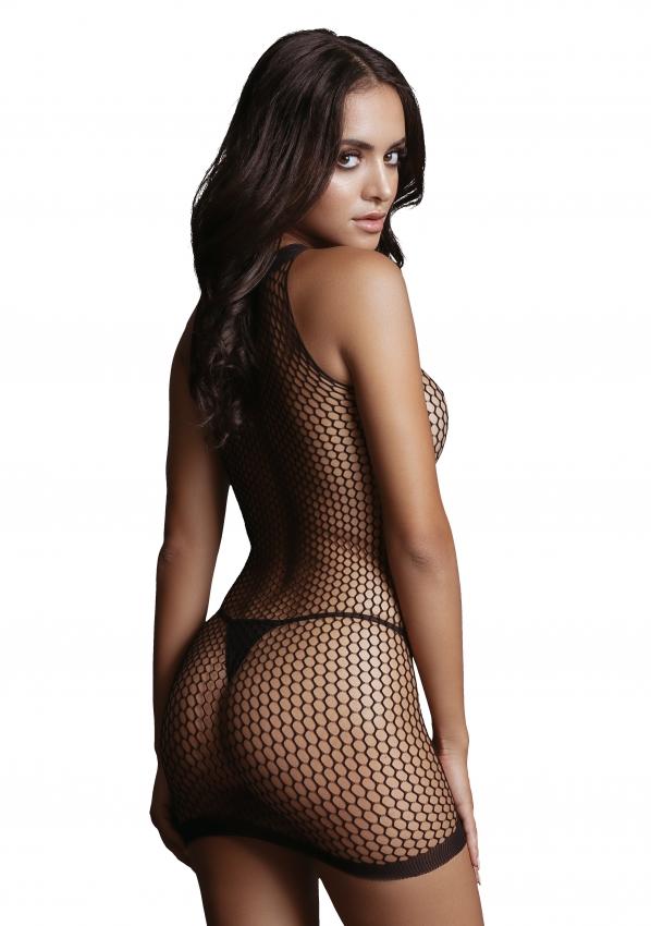 Le Desir Net Contrast Mini Dress Back Close-up
