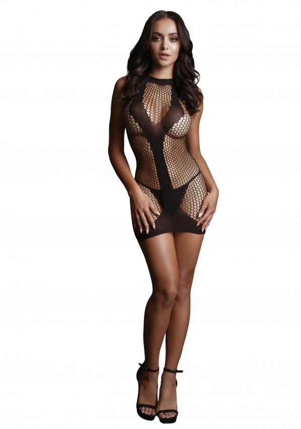 Le Desir Net Contrast Mini Dress