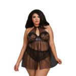 dreamgirl-plus-size-stretch-lace-high-neck-halter-babydoll-11796x