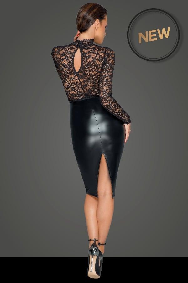 Noir-Handmade F228 Midi Dress with Soft Lace Top Back