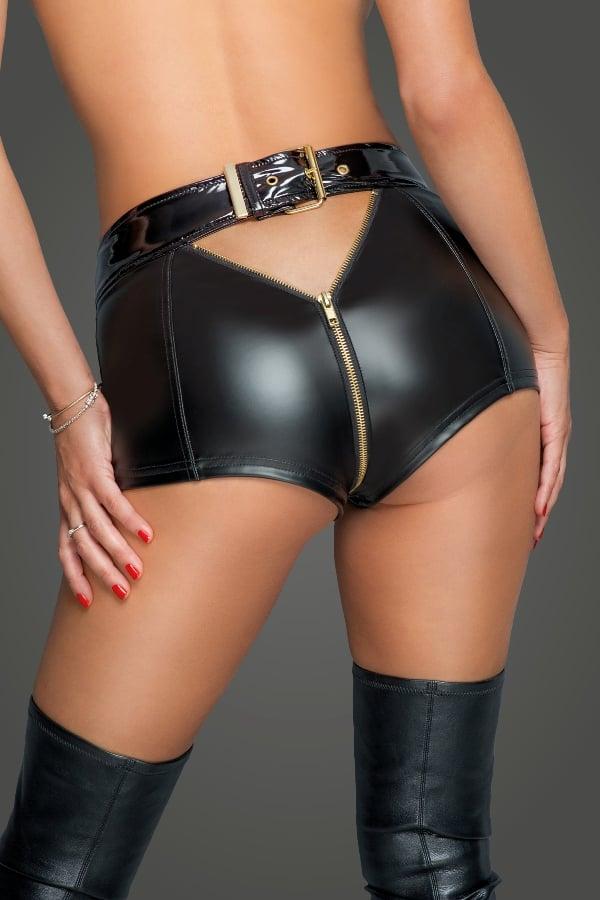 Noir Handmade F218 Sexy Female Shorts with Full Zip