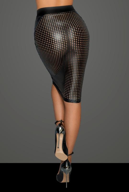 Noir Handmade F234 Power Wet-look Lasercut Skirt Back Close-up