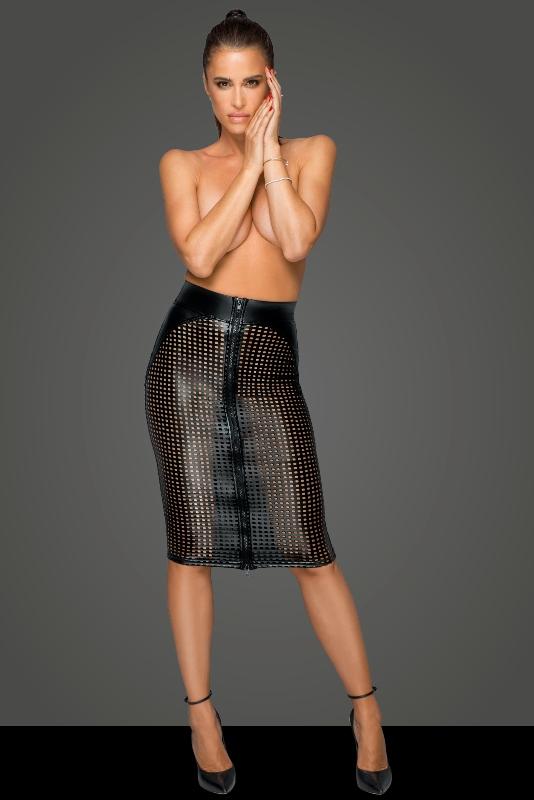 Noir Handmade F234 Power Wet-look Lasercut Skirt