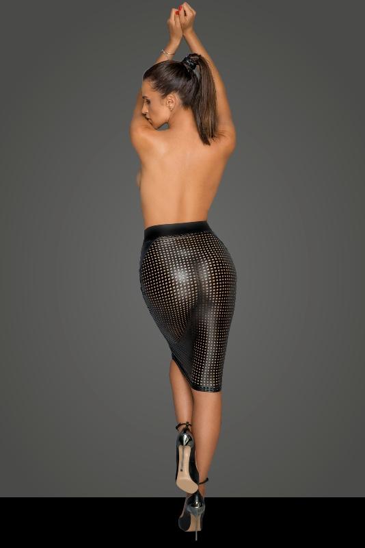 Noir Handmade F234 Power Wet-look Lasercut Skirt Back