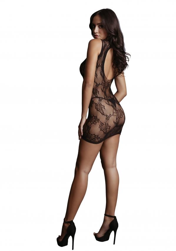 Le Desir High Neck Lace Mini Dress Back