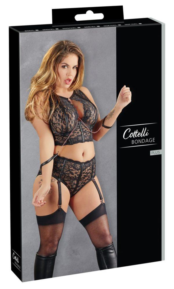 Cottelli Bondage Lace Bralette and Suspender Brief Set Packaging