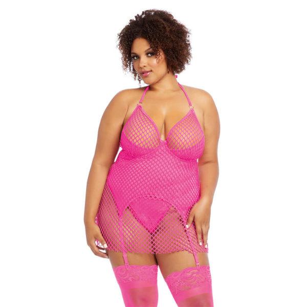 Dreamgirl Plus Size Two-Layered Fishnet Garter Slip 12262X