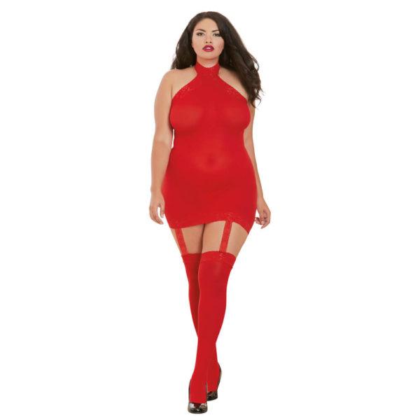 Dreamgirl Sheer Halter Garter Dress Queen Size 0035X Red