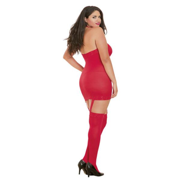 Dreamgirl Sheer Halter Garter Dress Queen Size 0035X Red Back