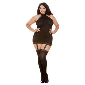 Dreamgirl Sheer Halter Garter Dress Queen Size 0035X Black