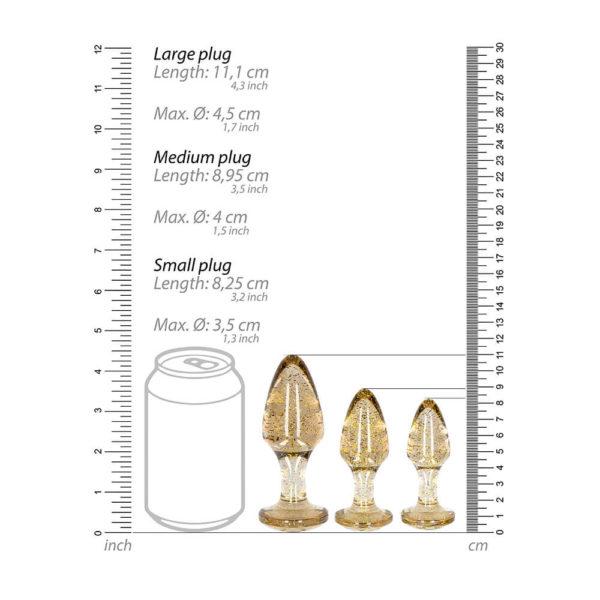 Golden Glitter Butt Plug Set Measurements