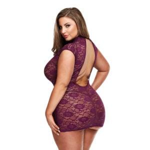 Baci Queen Size Lace Keyhole Mini Dress 3183Q Back