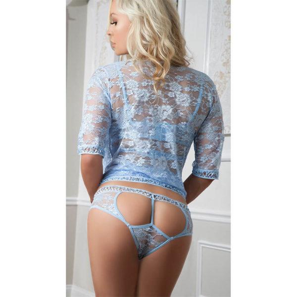 G World Daisy Blue Lace Robe & Bra Set Back