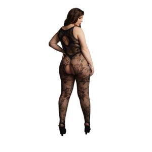 Le Desir Plus Size Criss Cross Neck Bodystocking Back