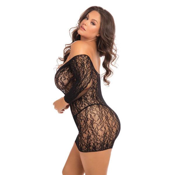 Rene Rofe Plus Size Demure Long Sleeve Mini Dress Back